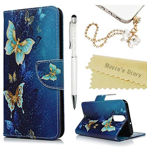 Huawei Mate 10 Lite Hülle Case Mavis\'s Diary Malen Leder Tasche Handyhülle Flip Cover Skin Standfunktion Schale Stoßdämpfend Bumper Holster Magnetverschluss Brieftasche Schutzhülle-Blau Schmetterling