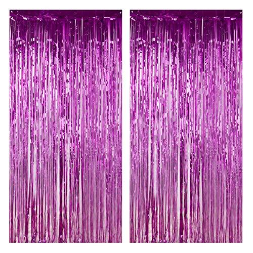 2x Folie Fransen Vorhänge Metallic Fringe Vorhänge Lametta Hintergrund Schimmer Glitzer Quaste Vorhang für Geburtstag Hochzeit Weihnachten Neujahr Party Foto Booth Dekorationen, 3.2 x 6.6 ft