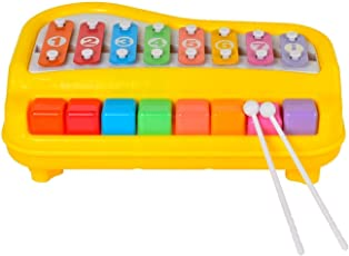 MW Toyz Kids 2 in 1 Key Scales Clear and Crisp Tones Piano Xylophone Toyset with Music Cards Songbook for Preshoolers and Toddlers (Assorted)