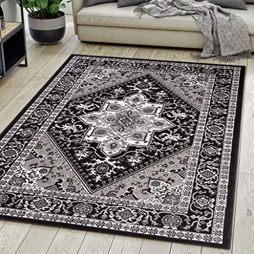 Carpeto Rugs Teppich Orientalisch Schwarz Klassisch Muster Kurzflor Öko-Tex Wohnzimmer 70 x 140 cm -