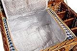 Weidenpicknickkorb 4 Personen Geschirr Picknick Korb Weidenholz Tasche Weidenkorb Picknickset (Blau) -