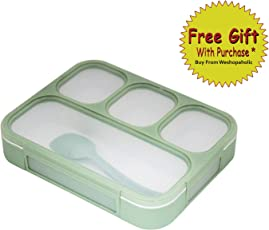 Shopaholic Plastic Innovative and Durable Grid Lunch Box with 4 in 1 Slots, 1000ml (Green/Blue) - 578
