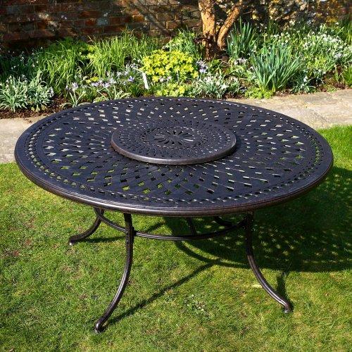 Frances 150cm Rundes Gartenmöbelset Aluminium - 1 FRANCES Tisch + 6 APRIL Stühle