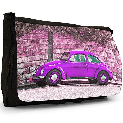 Old Classic, a forma di Maggiolino, colore: nero, Borsa Messenger-Borsa a tracolla in tela, borsa per Laptop, scuola Nero (Old Classic Purple Beetle Car)