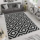Tapis De Salon Moderne Collection Marocaine - Couleur Noir Blanc Motif Géométrique Treillis - Meilleure Qualité - Différentes Dimensions S-XXXL 120 x 170 cm