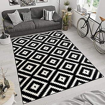 Ikea Tapis A Poil Ras Lappljung Ruta Blanc Noir 200 X 200 Cm