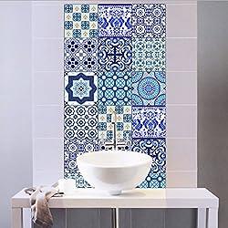 Extsud Set de 10 Pcs Sticker Carrelage Autocollant 20x20cm Carrelage Adhésif Mural Étanche pour Cusine Salle de Bain (Style Porcelaine Bleu et Blanc)