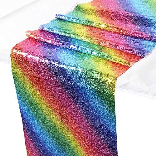 Pingrog Regenbogen Tischläufer Pailletten Nähen Tischdecke Cover Glitter Tisch Flagge Unikat Idee Dekoration Für Hochzeit Geburtstag Baby Dusche Graduierung Party Festival Event (30X180Cm)