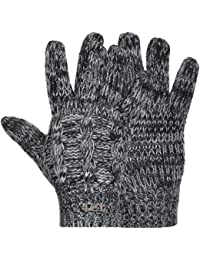 Fila Unisex Cable Knit Chunky Knitted Winter Warm Acrylic Gloves - One Size
