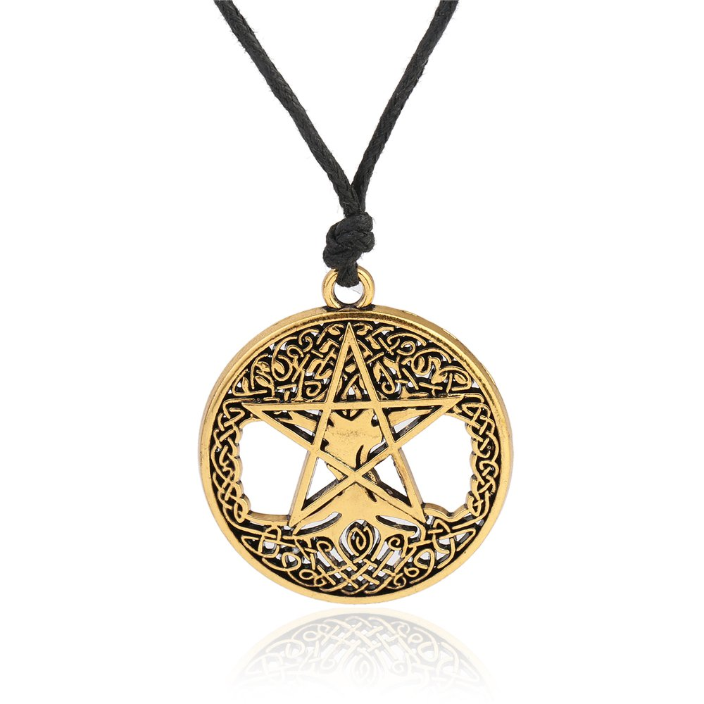 fishhook Wicca Religious Tree of Life Pentacle Celtic Knot Hollow Pendant Necklace Jewelry