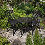 Lazy Susan - IVY Bistrotisch mit 2 Stühlen - Rundes Gartenmöbel Set aus Metall, Antik Bronze (MAY Stühle)