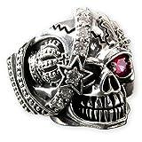 Fly Style® Herren-Ring Edelstahl 29 Designs Totenkopf Freimaurer Templer Band risstmix002, Ring Grösse:22.0 mm, Modell:Piraten Skull König mit Strass