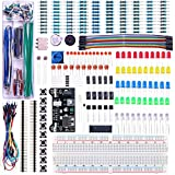ELEGOO Upgraded Electronics Fun Kit w/Power Supply Module, Jumper Wire, Precision Potentiometer, 830 tie-points Breadboard for Arduino UNO R3, MEGA 2560, Raspberry Pi, STM32, Datesheet Available