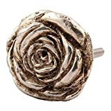 #9: Indianshelf Handmade Set of 2 Rose Aluminum Wardrobe Knobs (6 Month Replacement Warranty) Cabinet Handles Furniture Pulls