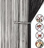 AIZESI Fadenvorhang Schwarz für Schiebegardine Insektenschutz Türvorhang 90x 200cm Trennwand Fenster Vorhang(Black)