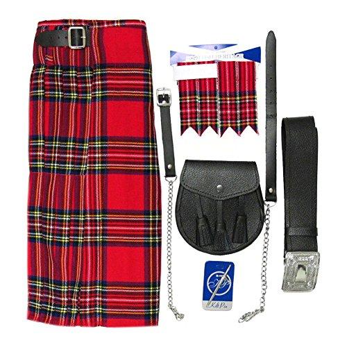 Aus Deutschland Kostüm Traditionelle - Tartanista - Herren Kilt-Set - 5-teilig - Royal Stewart - Taille (Nabelhöhe): 127cm (50