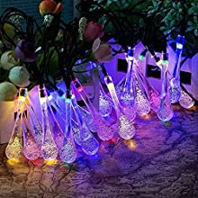 Uvistar 6m 200 LED en forma de lagrima/bola de cristal con distintos colores al aire libre solar luz de la secuencia,solar accionada de la decoración de Navidad de las luces destellan y impermeable para jardín,Navidad,Patio,hogar,árbol de Navidad,la