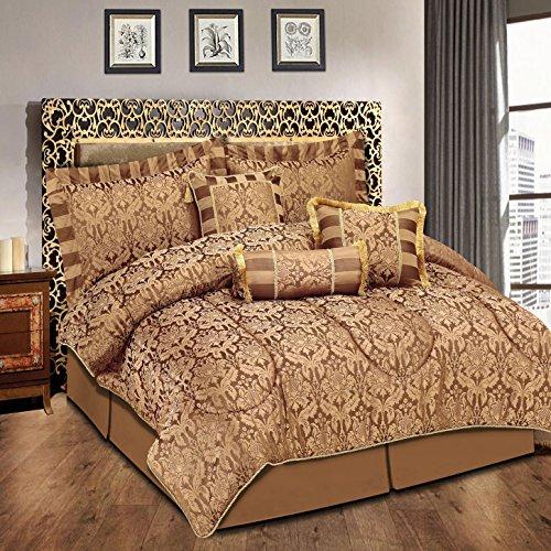 Luxuriöses Bettwäsche-Set, 7-teilig, Jacquard, gestepptes Tagesdecken-Set, Bettwäsche-Set + 2Kissenbezüge: für Doppelbett und Kingsize-Bett, Amazon Chocolate, King Size (Jacquard-bettwäsche-set)