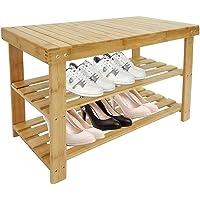 Todeco - Meuble à Chaussures en Bambou, Étagère en Bambou à 3 Niveaux - Matériau: Bambou - Poids: 3,7 kg - 70 x 45 x 28…