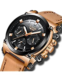 Watches for Mens,Business Luxury Classic LIGE Gent Leather Dress WristWatch Casual Waterproof Multifunction Military Sport Watch Chronograph Analogue Quartz Black Watch Dial Brown