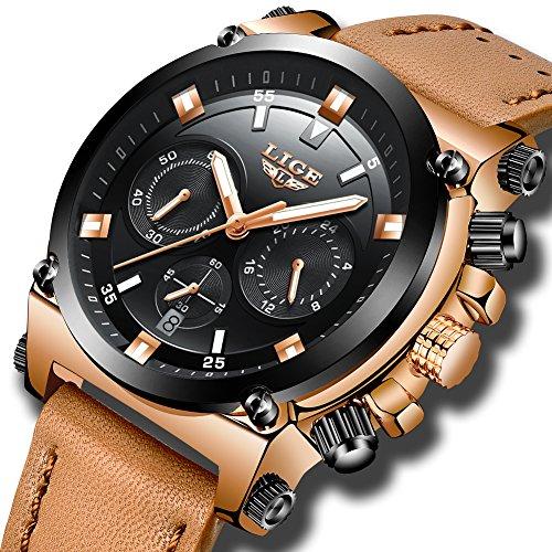 Relojes Hombre Reloj de pulsera de Cuero Reloj Elegante Analógico de Cuarzo Cronógrafo Reloj Deportivo Militar Negocios Multifuncional Impermeable para Hombres de Marrón