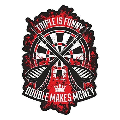 *Aufkleber Wetterfest Dart Double makes money 14 oder 40cm tripple Kneipe Hobby*