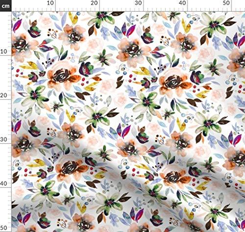 Tapete, Indy Blütendesign, Herbst, Decke, Schal Stoffe - Individuell Bedruckt von Spoonflower - Design von Indybloomdesign Gedruckt auf Seidenimitat Crêpe de Chine -