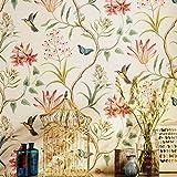 Rouleau de papier peint rustique «Peel and Stick» de American Country Vintage papier floral non tissé auto-adhésif papillon oiseaux Contact Papier peint mur 53 x 300 cm