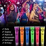 Neon viso e corpo Paint make up set di 6x 19g–fluorescente–Pittura per viso e corpo da MS. Dear–perfetto per feste, festival e Natale