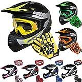 Leopard LEO-X19 *ECE 2205 Genehmigt* Kinder Motocross MX Helm Motorradhelm Crosshelm Kinderquad Off Road Enduro Sport + Handschuhe + Brille - Gelb M (51-52cm)