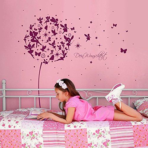 ilka parey wandtattoo-welt® Wandtattoo Wandaufkleber Wandsticker Aufkleber Sticker Pusteblume mit Elfen Feen Schmetterlingen Blumen Punkten Sternen und Wunschtext M2056 – ausgewählte Farbe: *lavendel* ausgewählte Größe: *M – 126cm breit x 120cm hoch* - 2