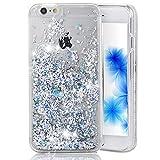 EMAXELEERS iPhone 6S Plus Hülle Liquid Flüssige Fließend Glitzer Klar Hart Plastik durchsichtig Tasche Handytasche Hülle Schale Etui Für iPhone 6+,Silver Diamonds