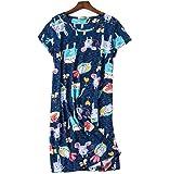 Camicie da Notte Donna Manica Corta Cotone Estive Elegante Nightdress Casual Abito Pigiama Taglie Forti