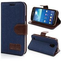 Samsung Galaxy S4 Active Hülle Klapphülle von NICA, Slim Flip-Case Kunst-Leder Vegan, Etui Schutzhülle Book-Case, Dünne Vorne Hinten Handy-Tasche Wallet Bumper für Samsung S4 Active - Blau