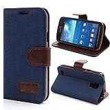 NALIA Klapphülle für Samsung Galaxy S4 Active, Hülle Slim Flip-Case Kunst-Leder Vegan, Etui Schutzhülle Book-Case, Dünne Vorne Hinten Handy-Tasche Wallet Bumper für Samsung S4 Active - Blau