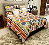 Home Candy 144 TC Polka Cotton Double Bedsheet with 2 Pillow Covers - Multicolor