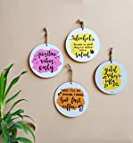 "VIOLET VIBES Fibre Wood Colourful 6"" Round Shaped Wall Hangings for Home Decor 