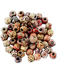 Lot de 100 Perles en Bois Boule Boules Spacer Entre Perles Bijoux DIY Bricolage, 2, Taille Unique