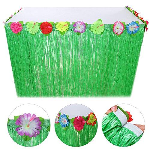 Pangda 9 Pies Cuerda Verde de Hibiscus Luau Hawaiana y Falda de Mesa de Hierba Flores Artificial de Seda Coloridaa para Decoración de Fiesta, Eventos, Cumpleaños, Celebración