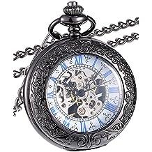 Reloj de Bolsillo Mecánico de Cubierta de Lupa con Escala Azul ...