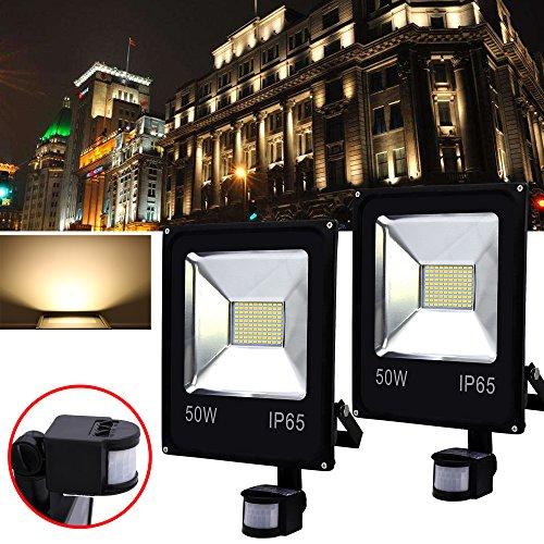 Hengda® 2X 50W LED Fluter Flutlicht Strahler Außenstrahler Bewegungsmelder Warmweiß IP65 AC85-265V