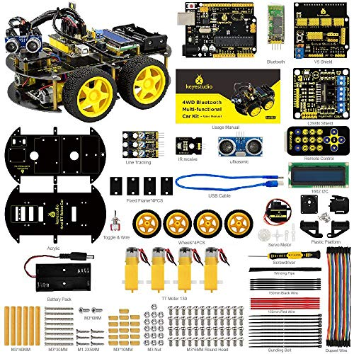 KEYESTUDIO Smart Robot Car Kit R3 Starter Kit R3 Board, Line Tracking Modul, Ultraschallsensor, Bluetooth Modul Kit Auto Roboter Spielzeug für Erwachsene und Kinder - Smart Wire