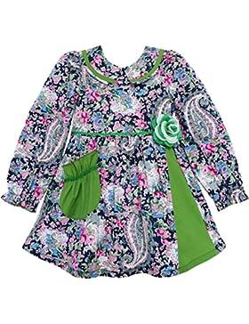 Mädchen Kleid Ablehnen Kragen Paisley Blume Grün