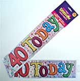 Holographic Silver Stars 40 Today Birthday Banner/Party Bunting - 2.6m [EF]