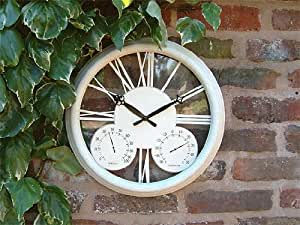 Horloge d'Extérieur Classique Blanche Thermomètre Hygromètre - 32cm