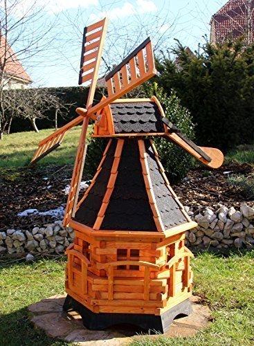 Große Windmühle mit Windschwert und Solar Typ 20 (Schwarz)