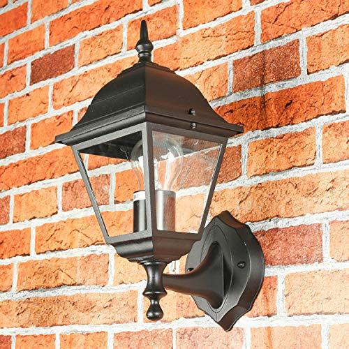 \'Rústico Jardín Farol Tirol en negro/1x E27hasta 60W 230V/lámpara de pared exterior lámpara para patio y jardín IP44