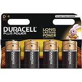 Duracell Plus Mono alkaline batterijen LR20, Maat D 4 Stuk zwart, oranje
