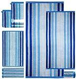 Lashuma Handtuch Set Gestreift 8 Teile Blau | 2X Seiflappen 15 x 21 cm | 2X Gästetuch 30 x 50 cm | 2X Frottiertuch 50 x 100 cm | 2X Badetuch 70 x 140 cm