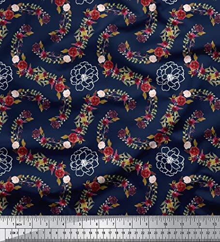 Soimoi Blue Cotton Jersey Stoff Anemone & Roses Floral Stoff drucken 1 Meter 64 Zoll breit -